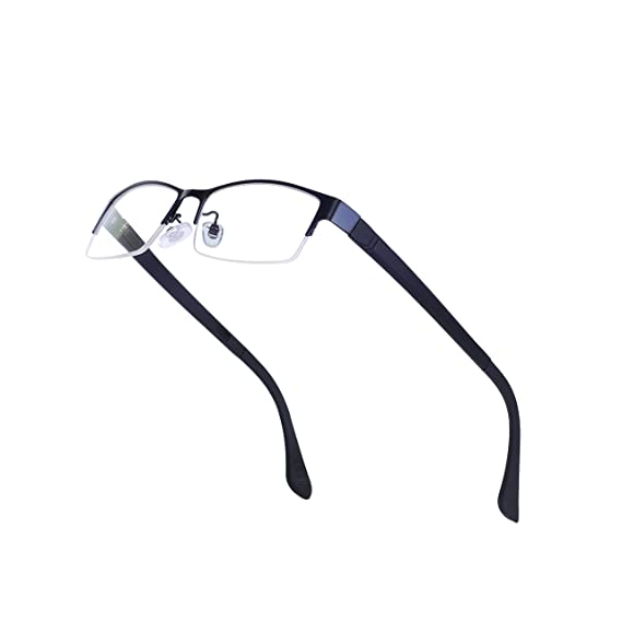 94ba8744d4 Half-Rim Rectangular Glasses Frame with Clear Lens for Men Metal Eyewear Non -prescription with Case  Amazon.co.uk  Clothing