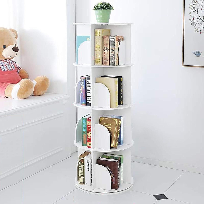 Bookshelf,Creative 360°Rotating Bookcase Simple Disassembly Bookshelves Simple Student Landing Rack-White 46x46x127cm(18x18x50)
