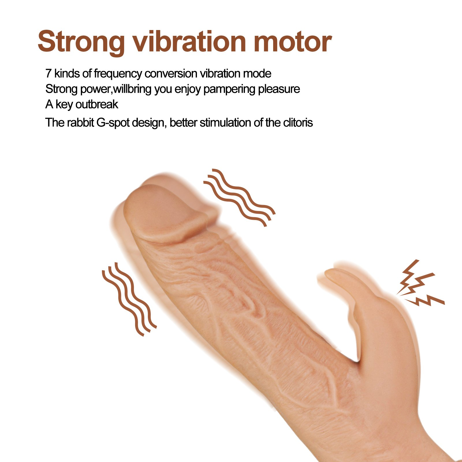 Riodong Dildo Vibrator, Powerful Vibrative Stimulation for G-Spot Vagina and Clitoris, with Suction Cups on Bottom, Real Fleshcolor, 8.25 Inch