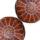 Set of 2 Amazing Moroccan Pouf Dark Brown Color,, Ottomans Poffes,Footstool poufs,100% Handmade Leather Poof Home Gifts…