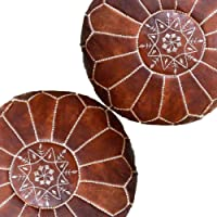 Set of 2 Amazing Moroccan Pouf Dark Brown Color,Ottomans Poffes,Footstool poufs,100% Handmade Leather Poof Home Gifts…