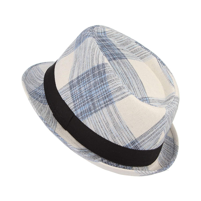Summer Men Cotton Plaid Fedora Derby Bowler Hat Men Wide Brim Jazz Hat Gangster Panama Church Hat