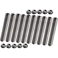 Dewhel 10pcs stainless exhaust manifold stud kit manifolds Super Duty for Ford 6.8 Liter V10 (One Side)