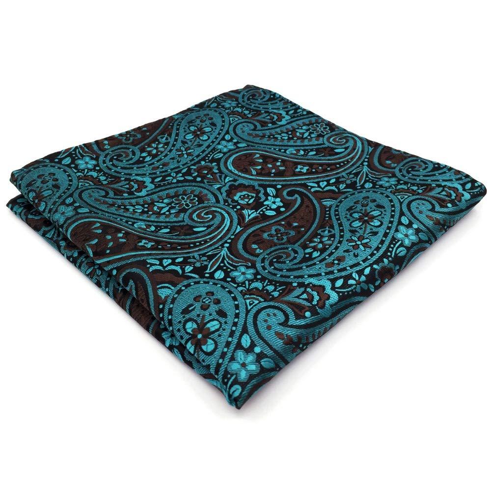 Shlax& Wing Paisley Blue Black Pocket Square Mens Hankies Hanky PH17