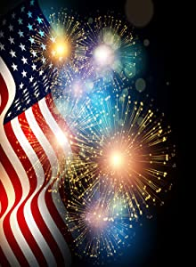 Wamika American Flag Patriotic USA Garden Yard Flag Banner House Home Decor 28 x 40 inch, 4Th of July Memorial Day Firework Star Large Decorative Double Sided Welcome Flags for Holiday Wedding Party