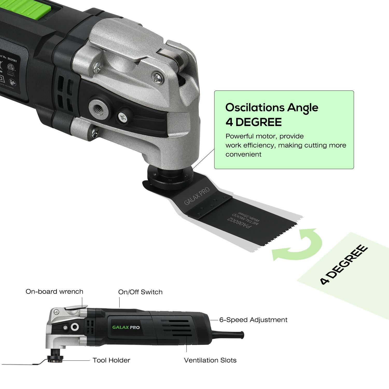400 W Outil multifonctions /à 6 Vitesses de Rotation et Accessoires 30pcs GALAX PRO Outil Multifonction Oscillant Angle Oscillant 4 /°