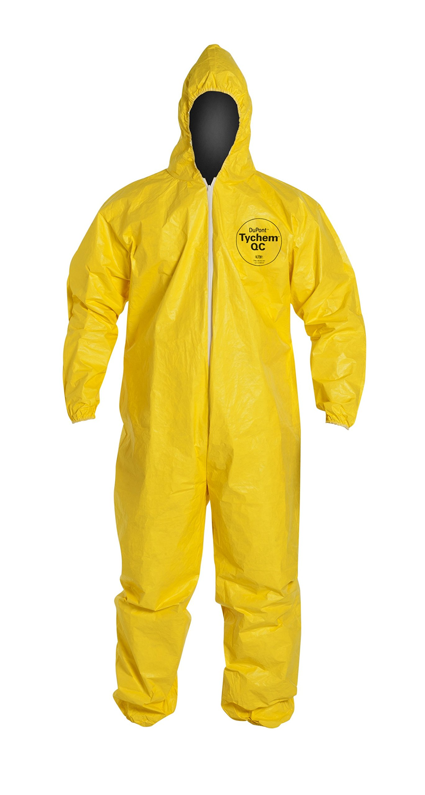 DuPont Tychem 2000 QC127S Disposable Chemical Resistant Coverall with Hood, Elastic Cuff and Serged Seams, Yellow, Large (Pack of 12)