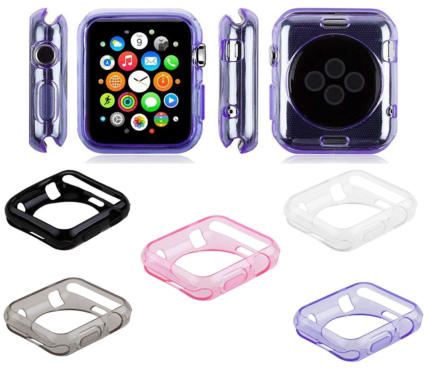 5 Pack by Tech Express for Apple iWatch Black + Pink, Clear, Gray, Purple Liquid Air Bumper [Watch Gel Cover] Skin Protective Case Shockproof Ultra Rugged Series 1, 2, 3 & 4 Accessories (40mm Clear) by Tech Express