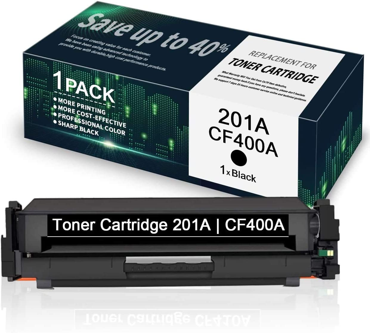 201A   CF400A Black Toner Cartridge Replacement for HP Color Laserjet Pro MFP M277n M277dw M277c6 M274n Pro M252dw M252n - by VaserInk