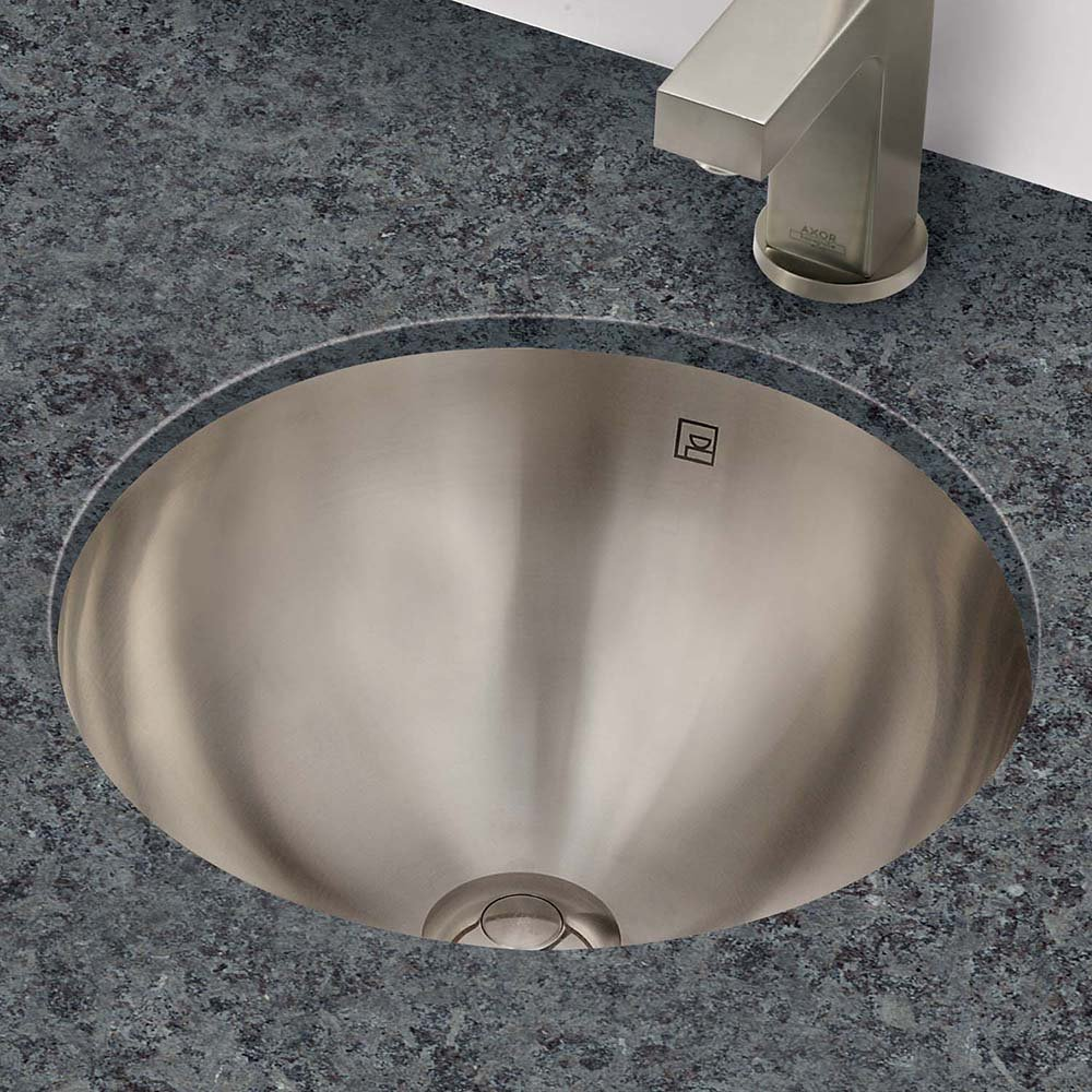 DECOLAV 1201-B Teanna Stainless Steel Round Drop-In or Undermount Lavatory Sink, Brushed