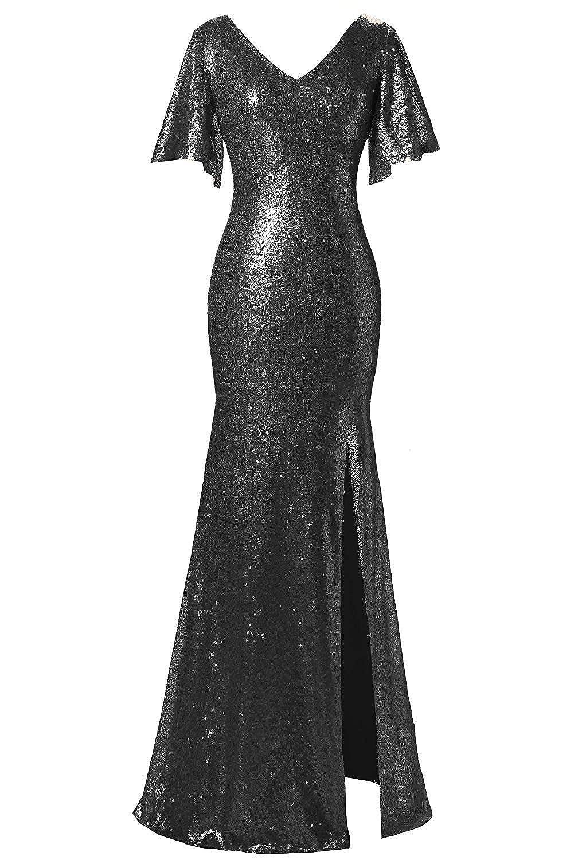 Black Victoria Prom Women's Sequin VNeck Evening Dress Flutter Sleeve FloorLength Gown