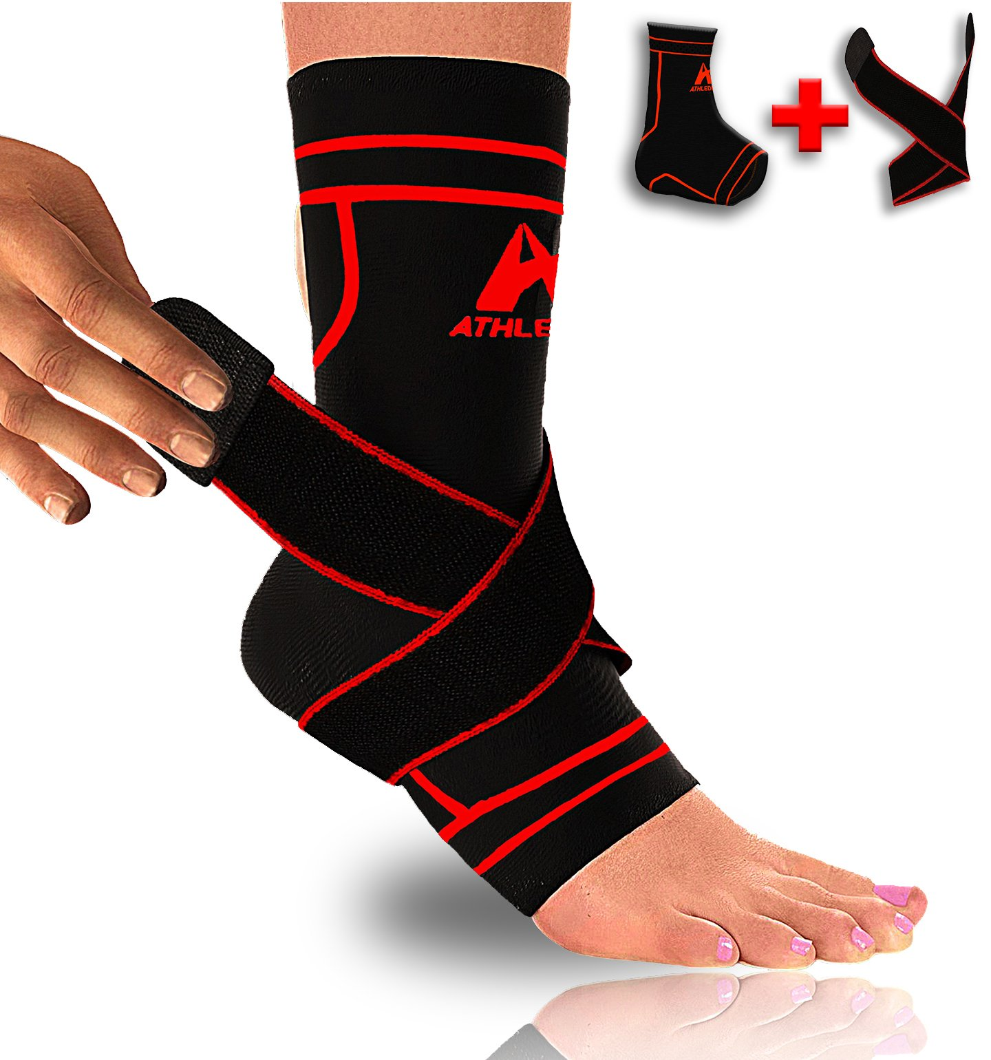 Athledict Plantar Fasciitis Sock Sleeve with Ankle Brace Strap for Support & Pain Relief by trade; (Black/Red, M)