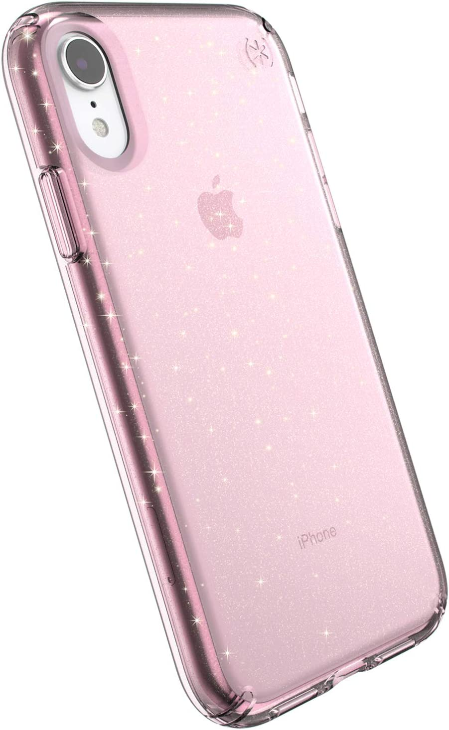 Speck Products Compatible Phone Case for Apple iPhone XR, PRESIDIO CLEAR + GLITTER Case, Bella Pink with Gold Glitter/Bella Pink