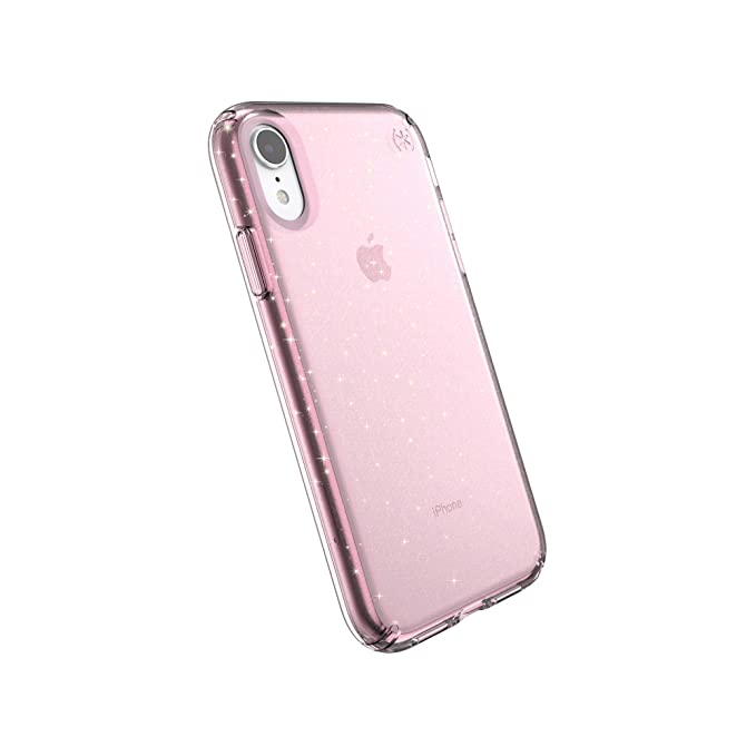 huge selection of 91476 1785a Speck Products Compatible Phone Case for Apple iPhone XR, PRESIDIO CLEAR +  GLITTER Case, Bella Pink with Gold Glitter/Bella Pink