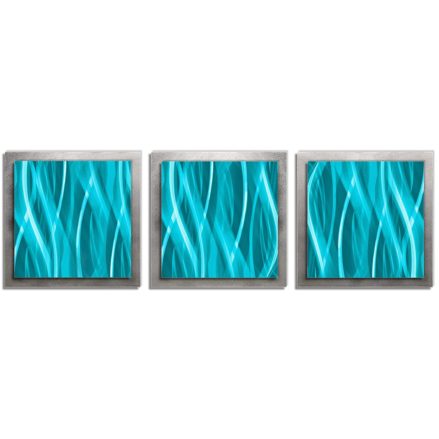Amazon com turquoise and silver metal art turquoise essence layered multi panel wall sculpture versatile colorful contemporary modern home decor wall
