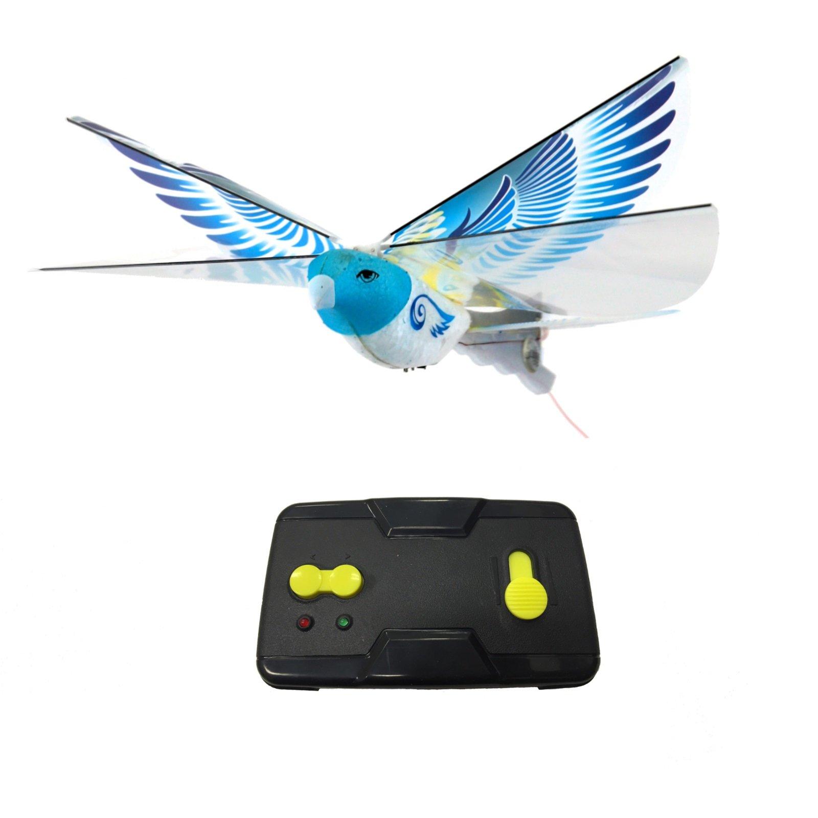 MukikiM eBird Blue Pigeon - 2016 Creative Child Preferred Choice Award Winning Flying RC Toy - Remote Control Bionic Bird (Newest 2.4GHz Version Featuring USB Charging)