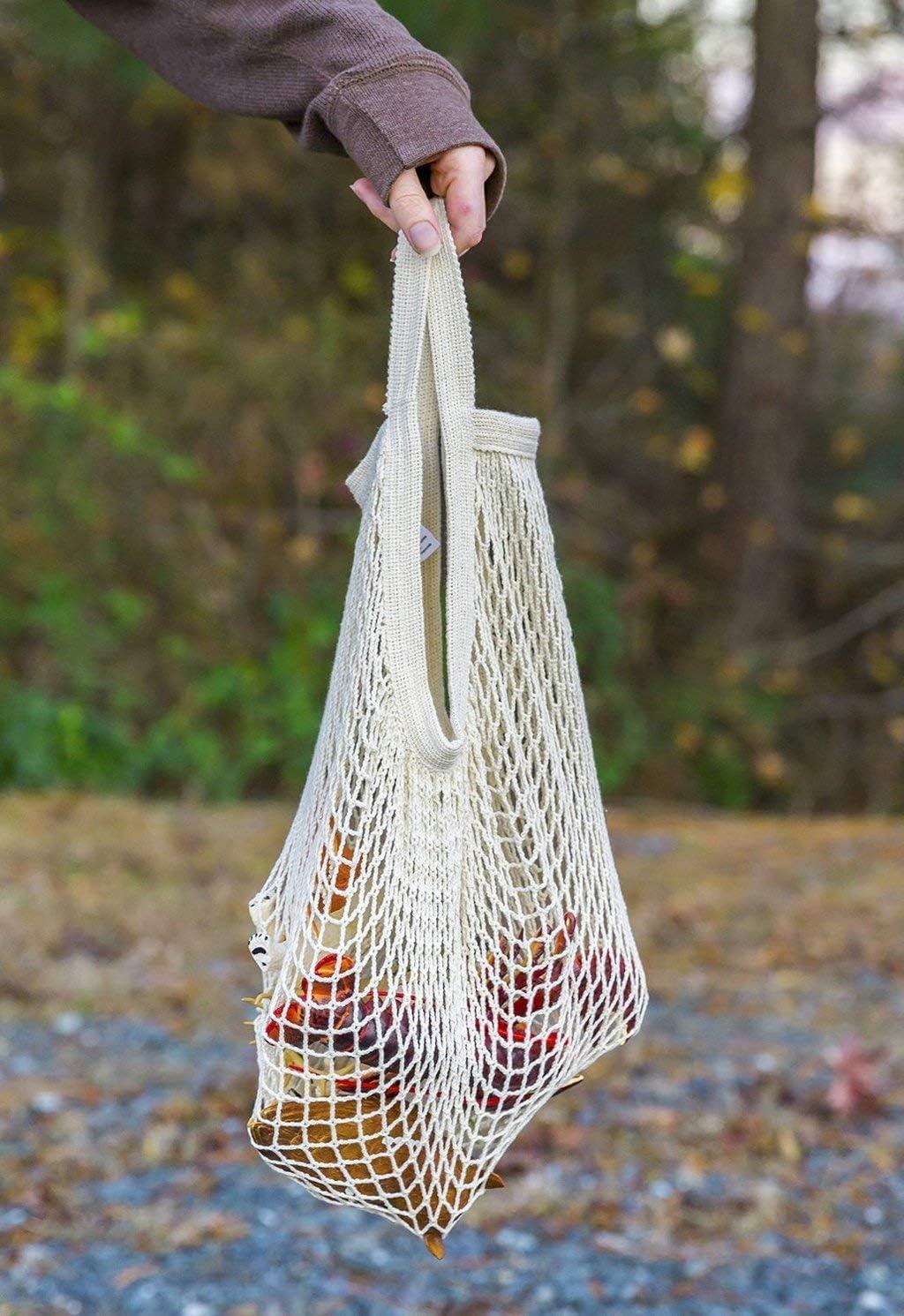Lyanther Sac /à provisions en Maille de Coton r/éutilisable 4 Couleurs au Choix Blanc