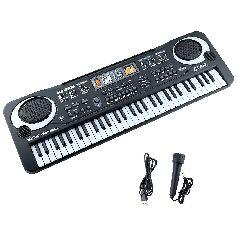 M SANMERSEN Kids Piano for Boys Girls, 2018 Improved Version 61 Keys Electronic Multifunction Keyboard Piano Musical Instrument for Kids Black