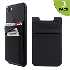 Hoblaze Phone Card Holder Stretchy Lycra Wallet Pocket Credit Card ID Case Pouch Sleeve 3M Adhesive Sticker Compatible with iPhone Samsung Galaxy Android Smartphones - 3Pack Black