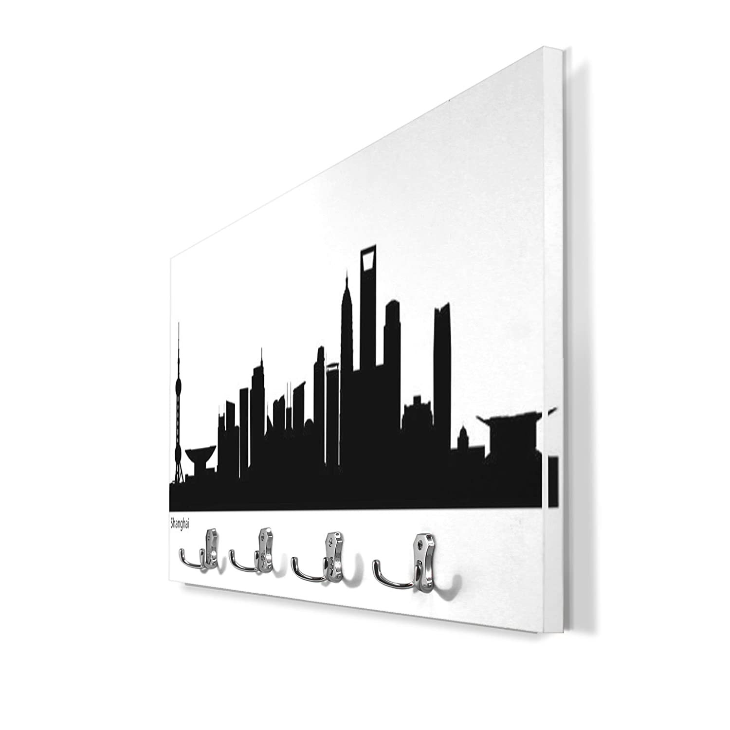 Perchero de pared blanco con 4 dobles y diseño: Skyline ...