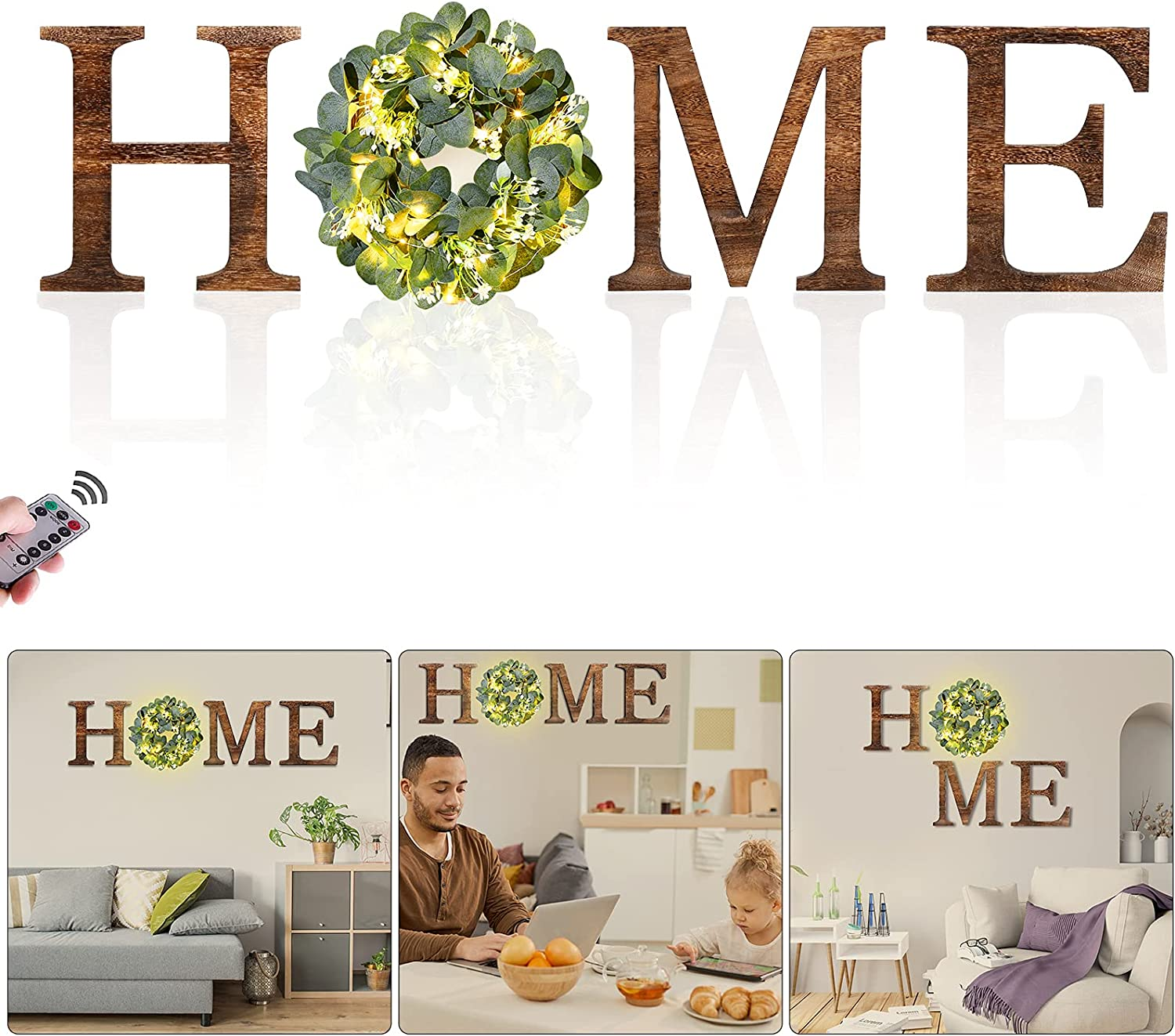 Wooden Home Sign Wall Decor with Remote Fairy Light - Wood Letters Home Decor with Artificial Eucalyptus Wreath Rustic Wall Decor for Living Room Bedroom Entryway Fireplace Housewarming Gift