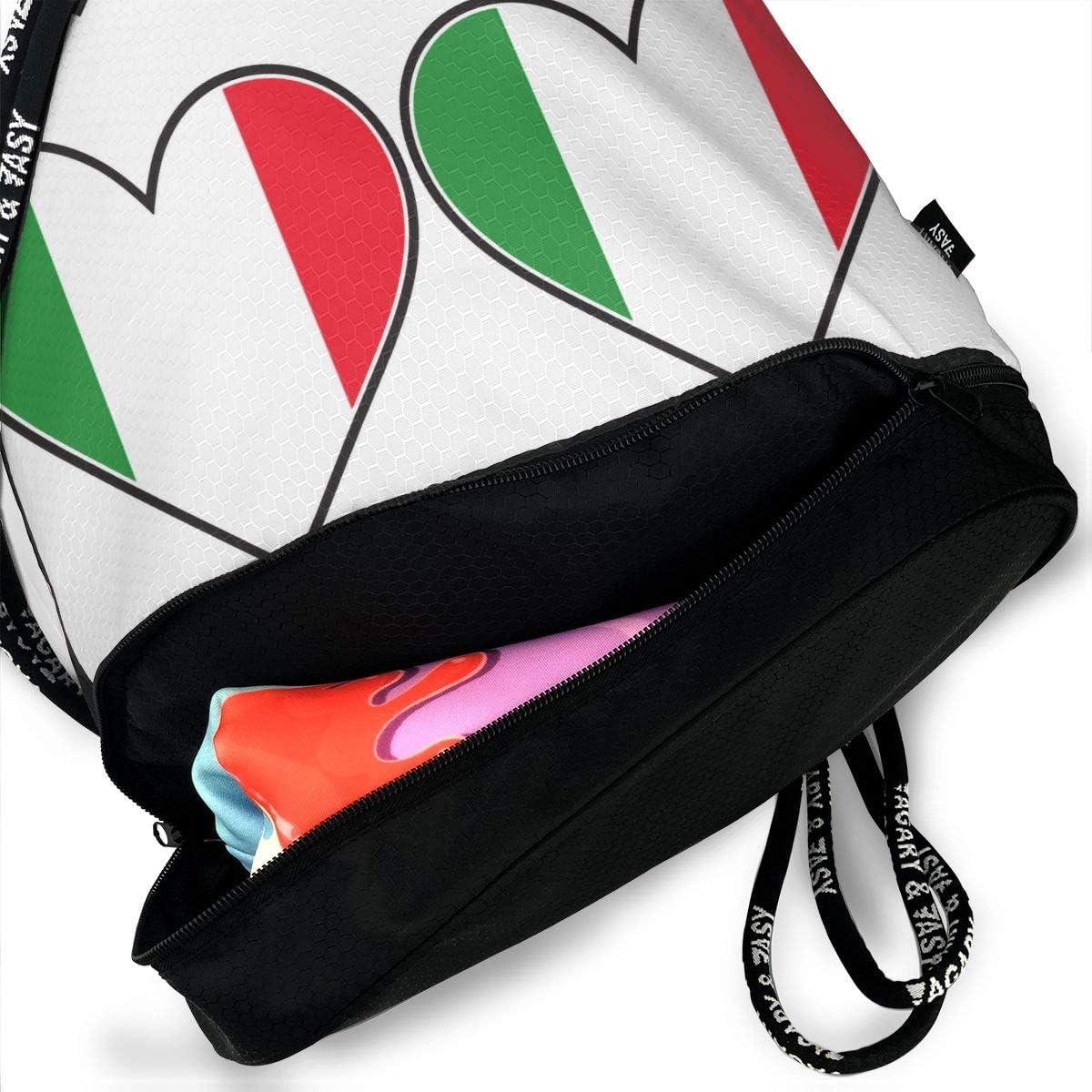 Drawstring Backpack Italian Flag Heart Bags