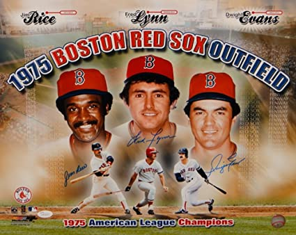 9c076742d8c Image Unavailable. Image not available for. Color  Rice Lynn Evans  Autographed 16x20 1975 Boston Red Sox ...