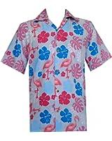 Hawaiian Shirt Mens Flamingo Leaf Print Beach Aloha Party Rich