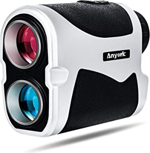 Anyork Golf Rangefinder 6X Laser Range Finder 1500 Yard with Slope On/Off,Flag-Lock Tech with Vibration, Continuous Scan Support - with Battery,Black