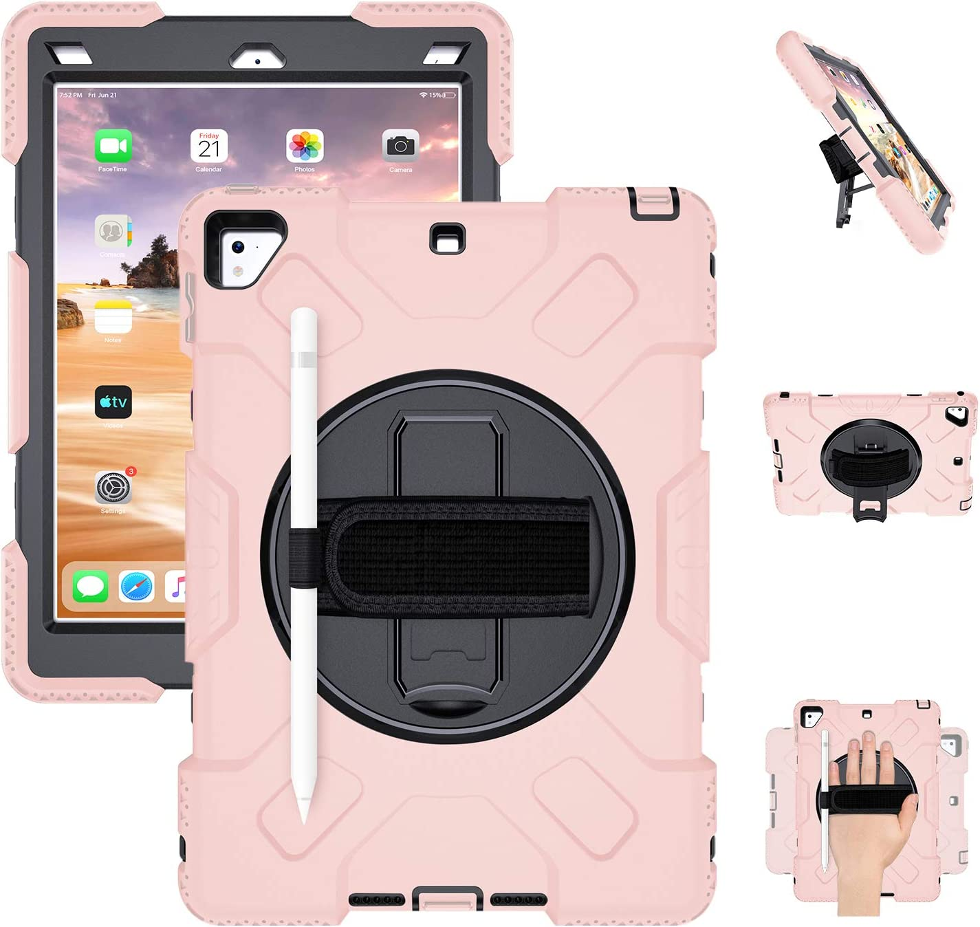 GROLEOA iPad 9.7 Case 6th/5th Generation iPad Case Heavy Duty Rugged Protective Shockproof Case Cover 360 Rotation Stand Hand Strap Shoulder Strap Pencil Holder for 6th 5th iPad Air 2 Pro 9.7 Pink