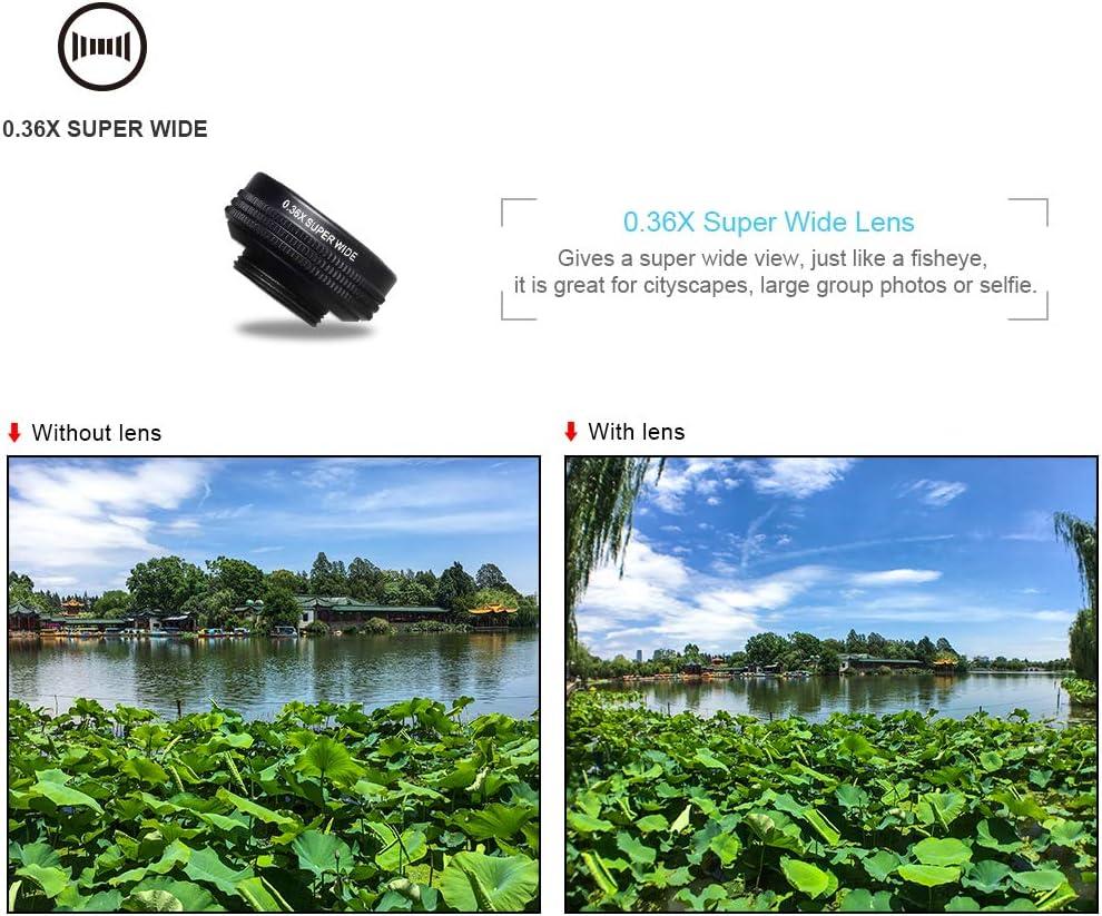 WZHESS Phone Camera Lens Kit,7 in 1 Cellphone Lens Kit 0.36X Wide Angle Macro Lens 198 Fisheye Lens 2X Telescope Lens for Huawei Universal Ph