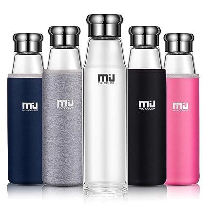 MIU COLOR–Botella portátil de vidrio de borosilicato botella