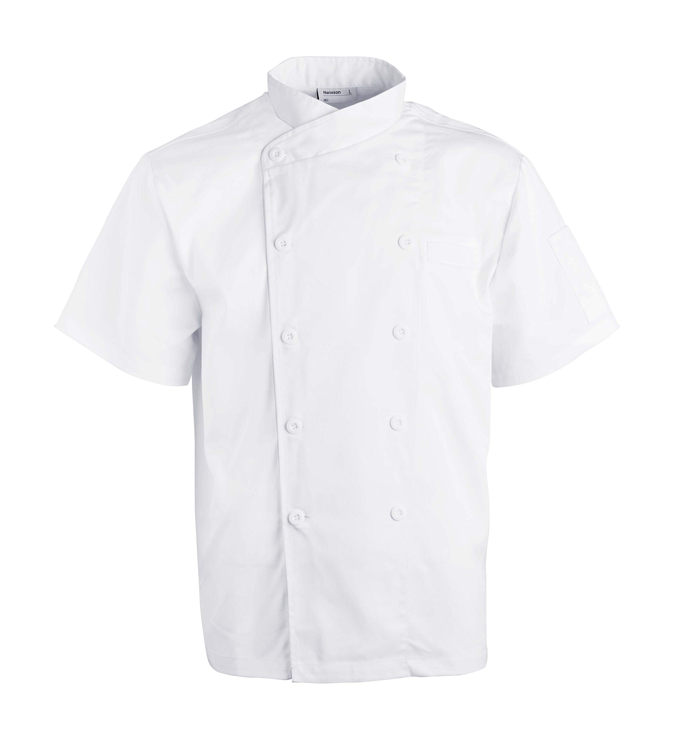 Nanxson(TM Kitchen Cotton Uniform Chef Working Coat with Air Mesh CFM0029 (White Short Sleeves, M)