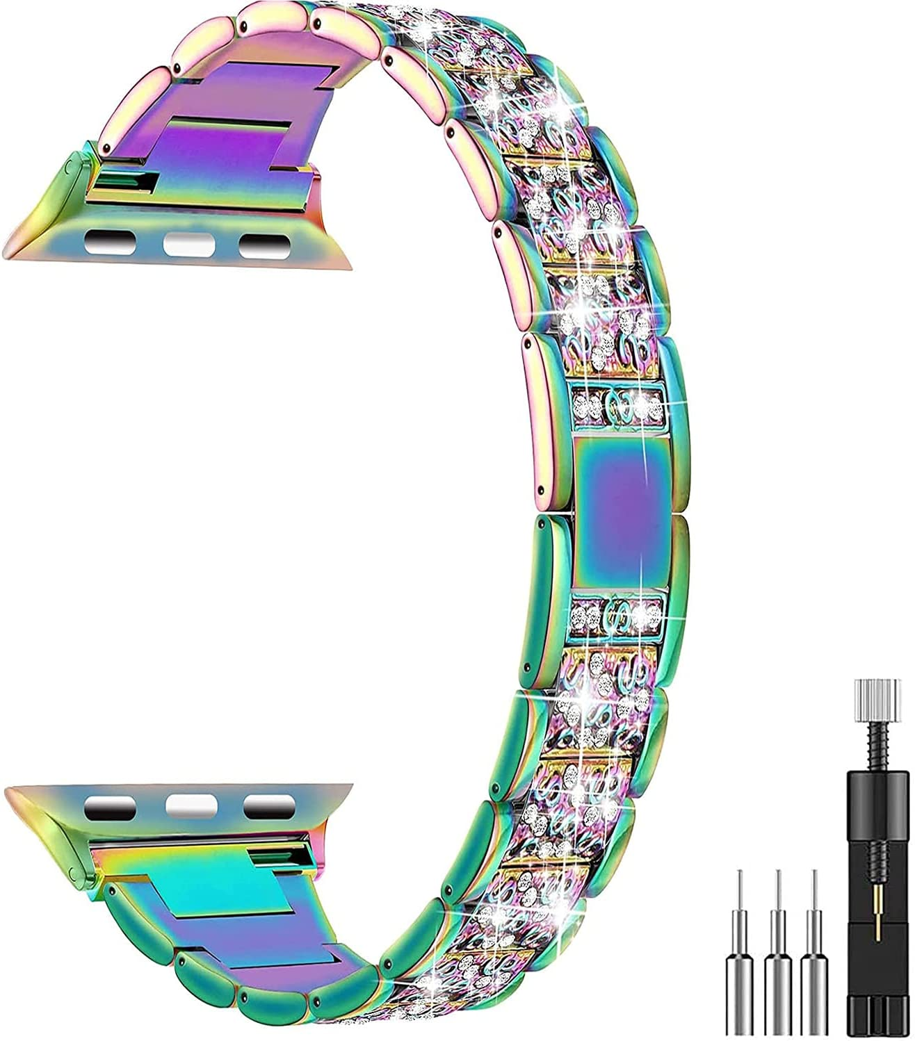 Mangoton Bling Bands Compatible for Apple Watch Band 42mm 44mm, Diamond Watch Strap for Series 6/5/4/3/2/1/SE, Rhinestone Stainless Steel Metal Wristband Strap iWatch Bands for Women (Colorful)