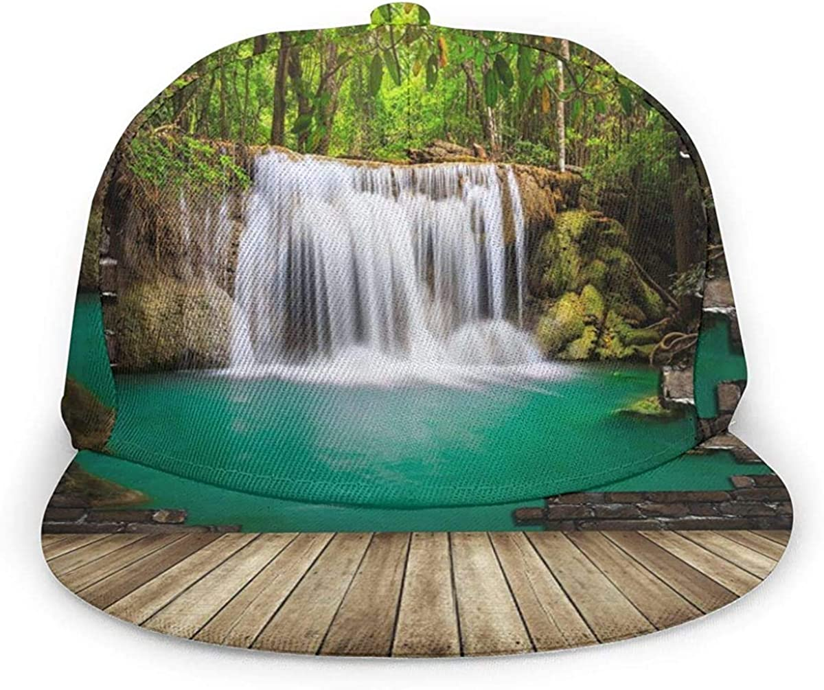 3D Digital Print Waterfall Brick Wall Lightweight Unisex Baseball Caps Adjustable Breathable Sun Hat for Sport Outdoor Black