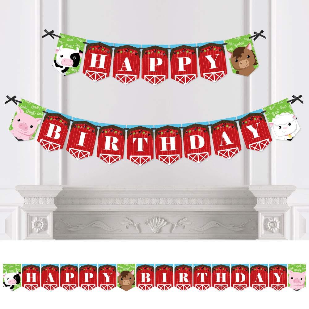 Big Dot of Happiness Farm Animals - Birthday Party Bunting Banner - Barnyard Party Decorations - Happy Birthday