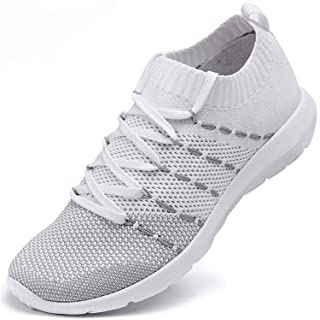 EvinTer Women's Running Shoes Super Lightweight Air-Permeable Mesh Sports Shoes Lazy Pedal Leisure Shoes White