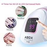 ABOX Star2 72W UV LED Nail Lamp Nail Dryer Fast Dry for Gel Nails Polish Curing with 36 pcs LEDs, 4 Timer, Auto Sensor for Home and Salon