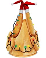 Evaliana Unisex Turkey Hat Light-Up Drumsticks Cap Christmas Costume Thanksgiving
