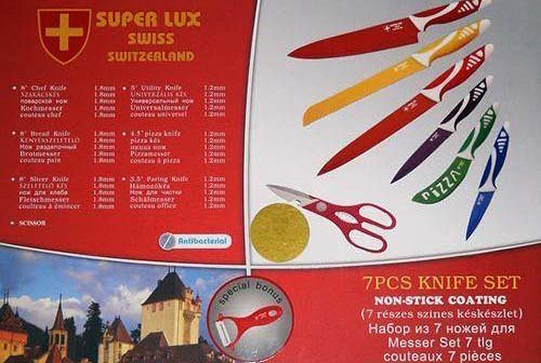Set de 7 Cuchillos de Ceramica hechos en Suiza Super Lux Antiadherente y Antibacteriano 2765