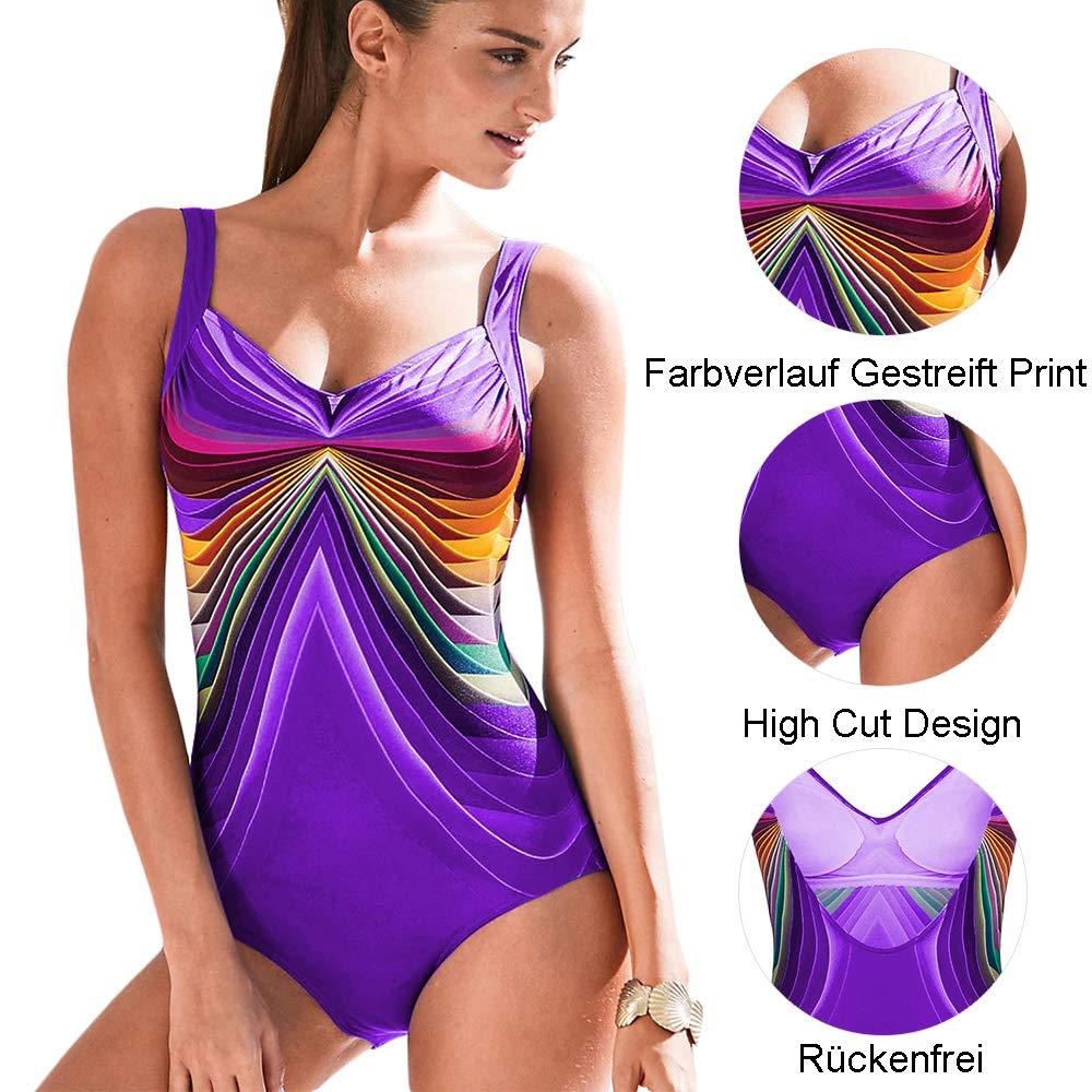 GOSOPIN Damen Badeanzug Gestreift Beachwear Farbverlauf Farbblock Bademode 3 Farbe One Piece