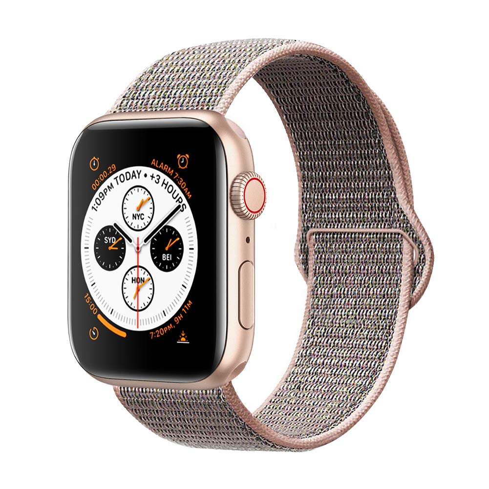 AdMaster Compatible for Apple Watch Band 38mm 40mm, Soft Nylon Sport Loop Replacement Wristband Compatible iWatch Apple Watch Series 4/3/2/1 Pink Sand by AdMaster (Image #1)