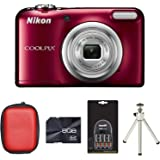 Nikon Coolpix A10 Digital Camera - Red + Case + 8GB Card + 4xAA Battery + Charger + Tripod (16.1MP, 5x Optical Zoom) 2.7 inch LCD