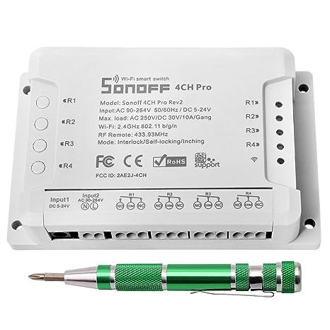 Sonoff 4CH Pro R2 Interruptor inalámbrico inteligente WiFi Conmutador de Control Remoto del Temporizador con Inching
