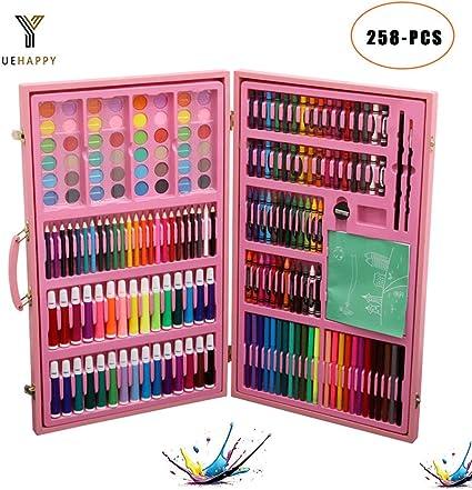 YUEHAPPY® Caja De Pinturas, 180 Piezas, Lápices De Colores, Ceras, Pinceles, Caja De Madera: Amazon.es: Oficina y papelería