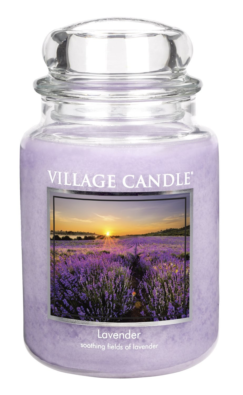 Village Candle Vela Pequeña con Aroma Lavanda, Cristal, Violeta, 10.3x10.1x10.4 cm 106011337