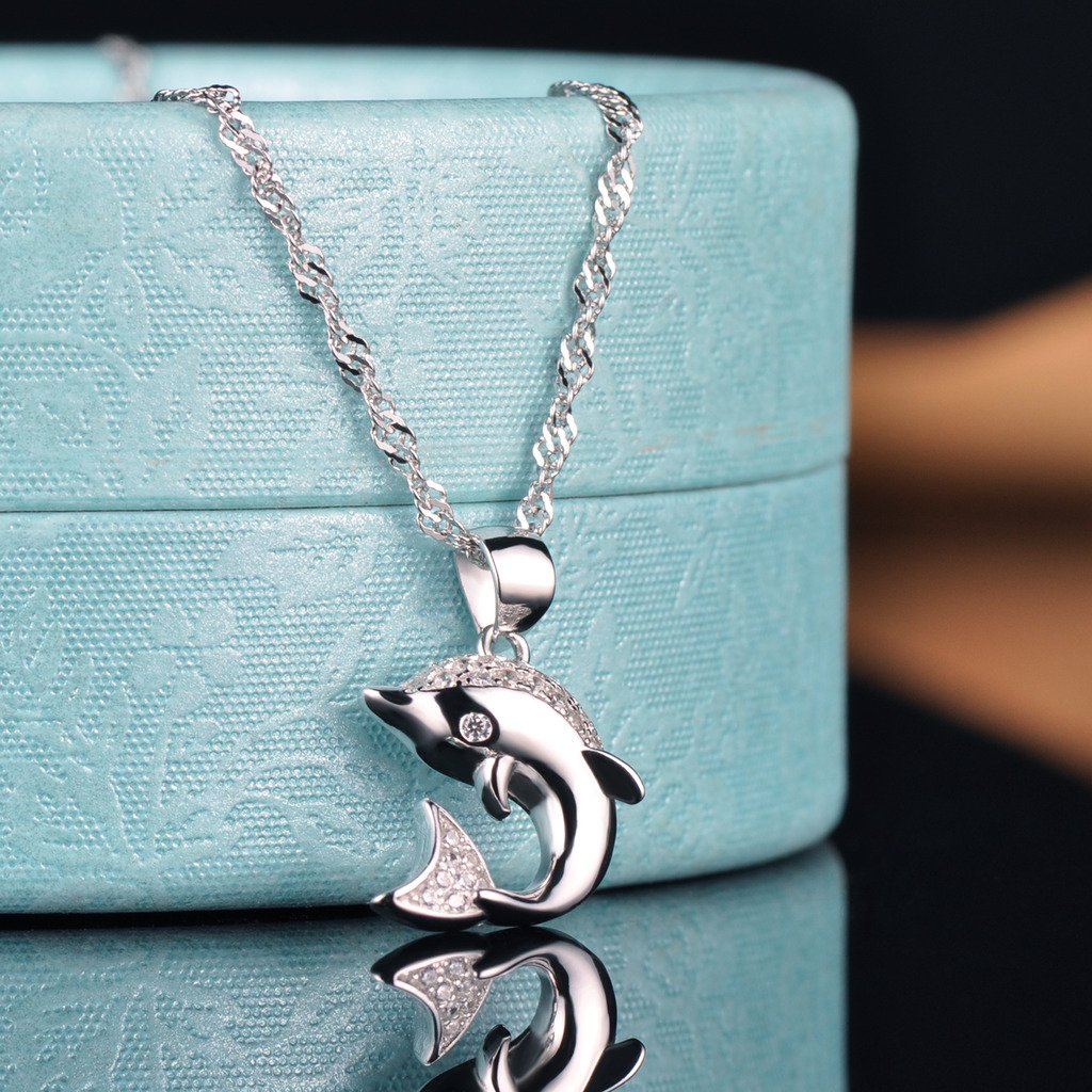 Yumilok Jewelry 925 Sterling Silver Cubic Zirconia Silver//Rose Gold Plated Cute Dolphin Pendant Necklace for Women//Girls