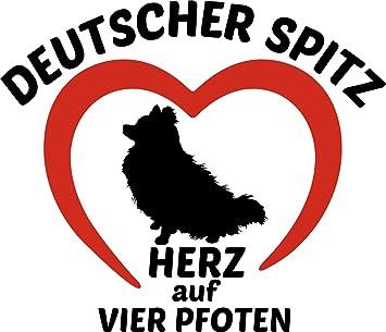 Deutscher Spitz Hunde Auto Aufkleber Pomeranier Sticker Herz