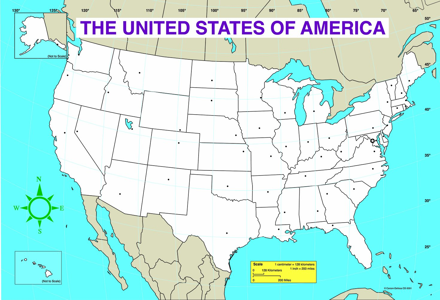Us Map With Miles.Amazon Com Carson Dellosa U S Map Chart 3091 Office Products