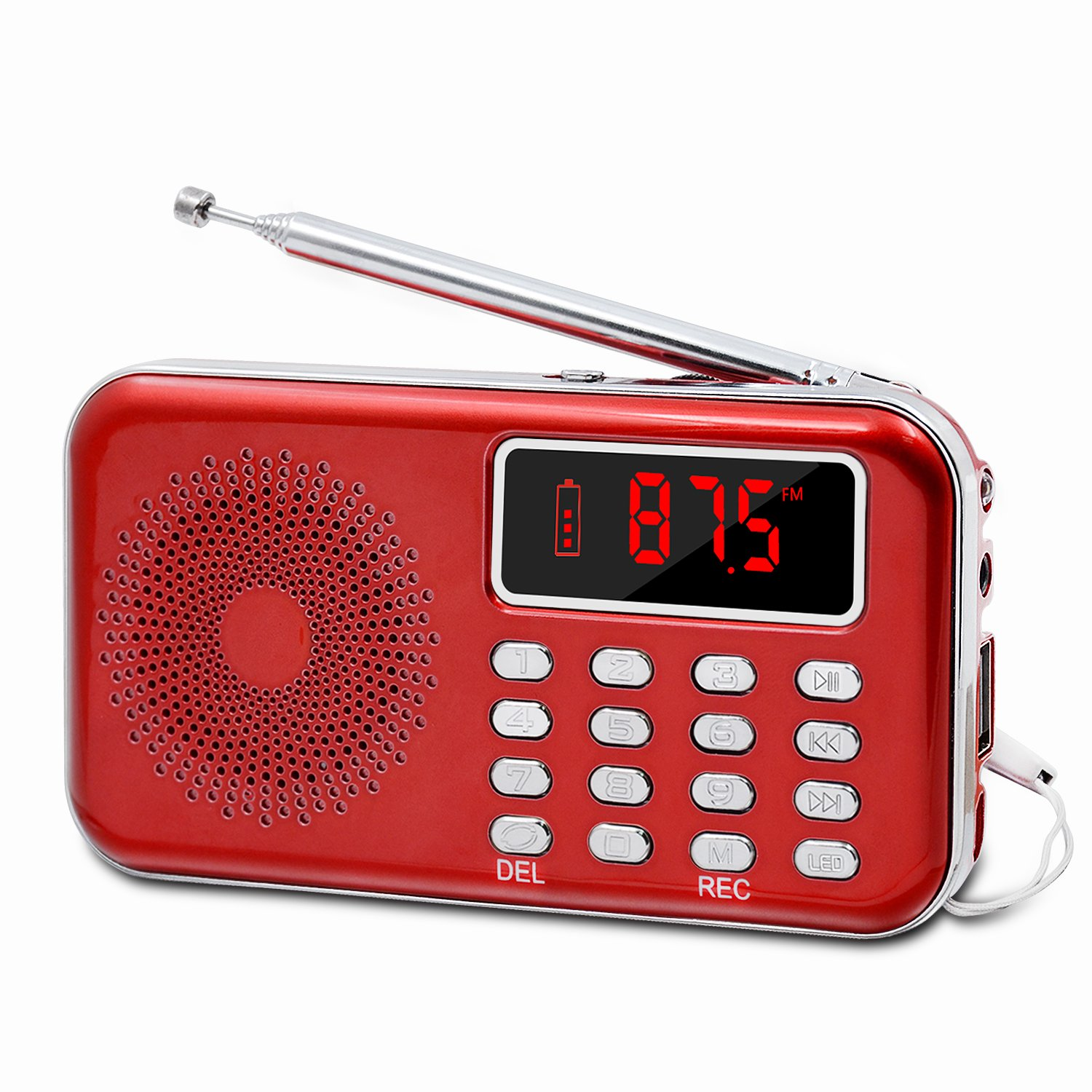 LEFON Mini Digital FM Radio + MP3 Music Player + Digital Voice Recorders Support TF Card / USB Disk with LED Screen Display Emergency Flashlight (Red)
